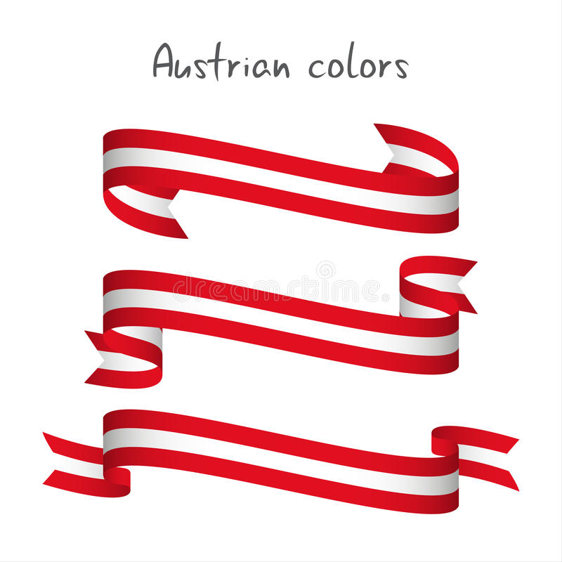 Set of three modern colored vector ribbon with the Austrian colo. Rs isolated on white background, abstract Austrian flag, Made in Austria logo royalty free illustration