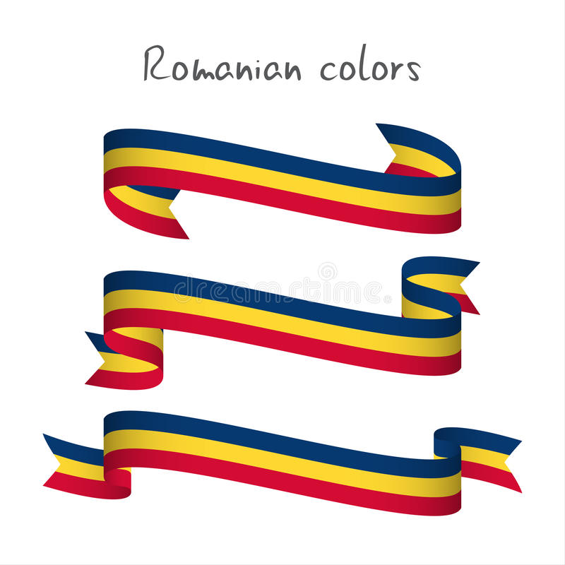 Set of three modern colored vector ribbon with the Romanian tricolor isolated on white background, abstract Romanian flag, Made i royalty free illustration