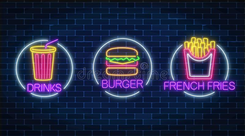 Set of three neon glowing signs of french fries, burger and soda drink in circle frames. Fastfood light billboard symbol stock illustration