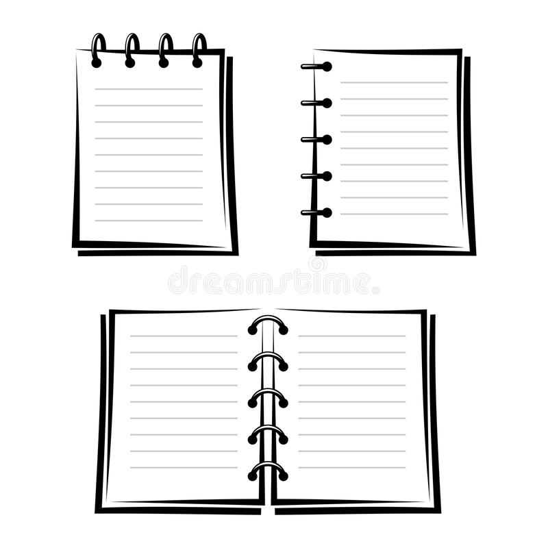 Download Set of three notebooks. stock vector. Illustration of monochrome - 36403445