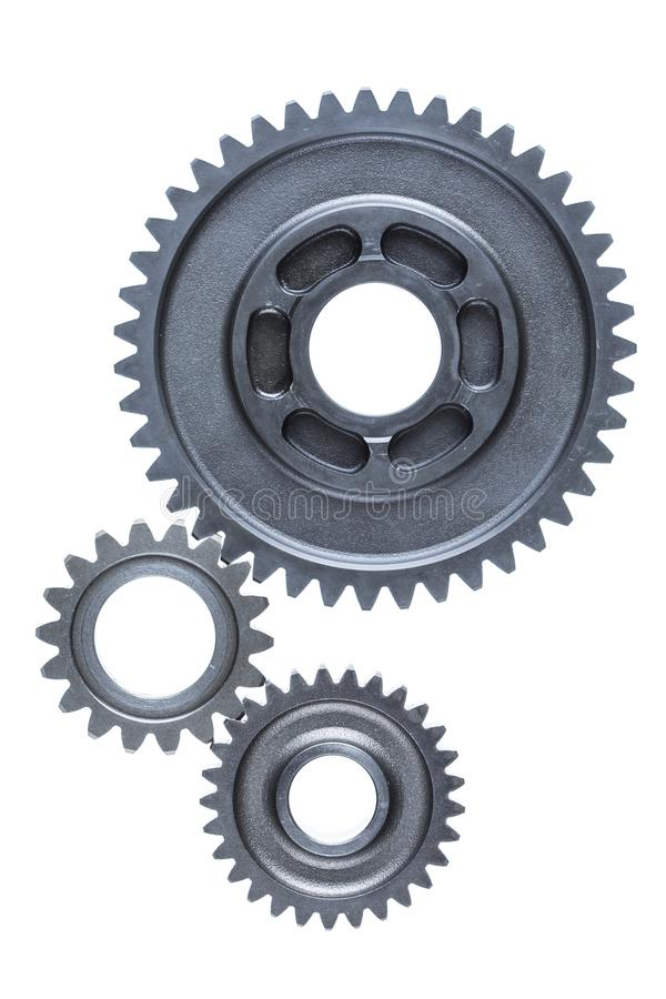 Three Old Metal Transmission Gears stock image