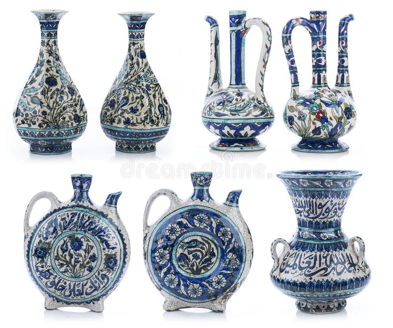 Set of three old vintage vases with Islamic quotes & ornaments.  stock photography