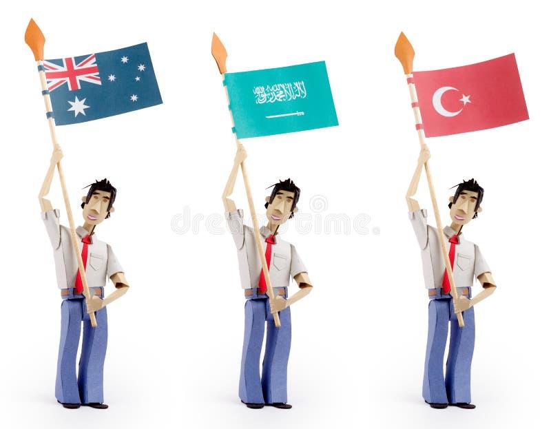 Download Set Of Paper Men Holding Flags Stock Image - Image of australia, patriotism: 30245807