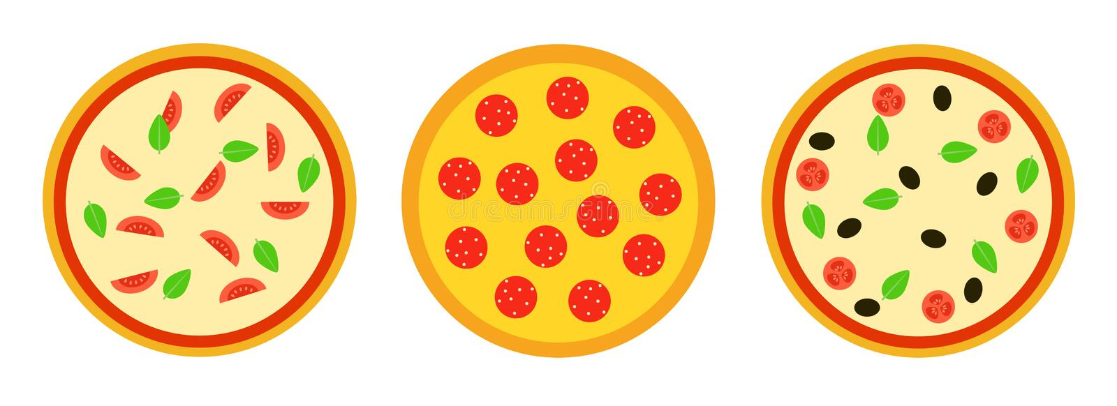Set of three pizzas. Vector illustration in flat style. royalty free stock images
