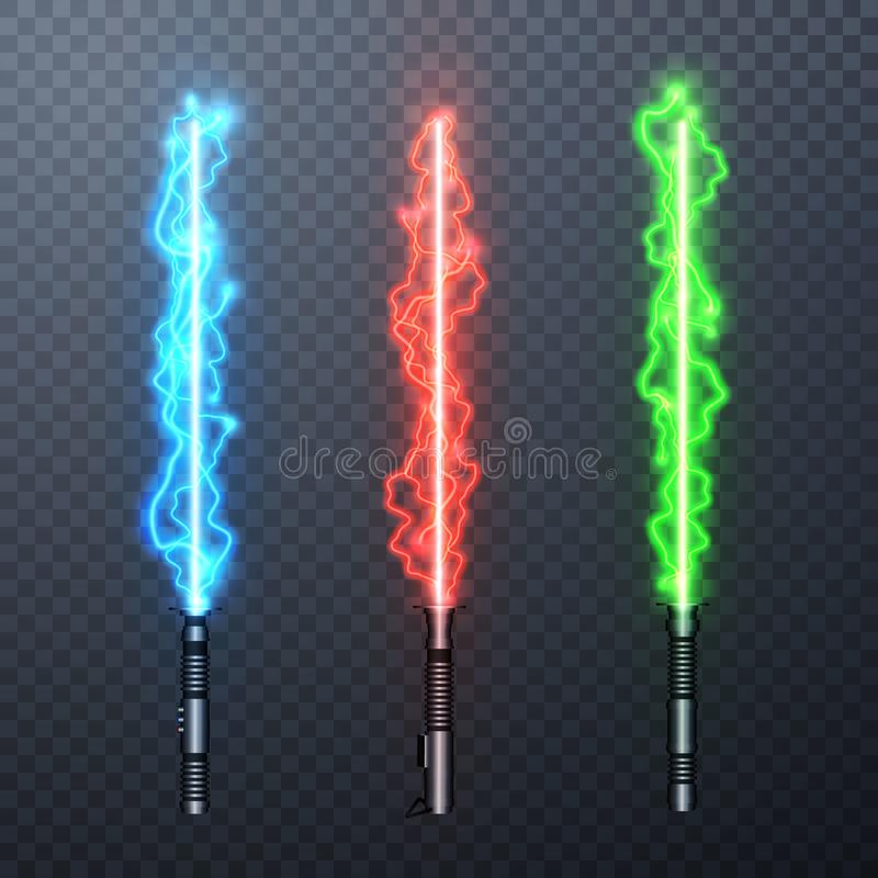 Set of three realistic electric light swords isolated on transparent background. Vector illustration.  stock illustration