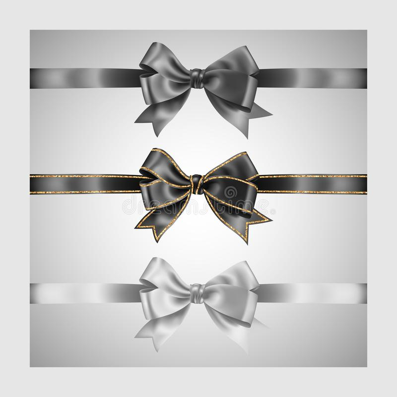 Set of three realistic gray black and white silk ribbon bow with gold glitter shiny stripes, vector illustration elements, for. Set of three realistic gray black stock illustration