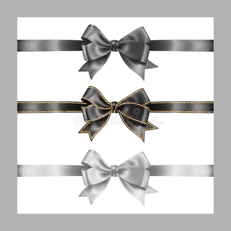 Set of three realistic gray black and white silk ribbon bow with gold glitter shiny stripes, vector illustration elements isolated. On white, for decoration stock illustration