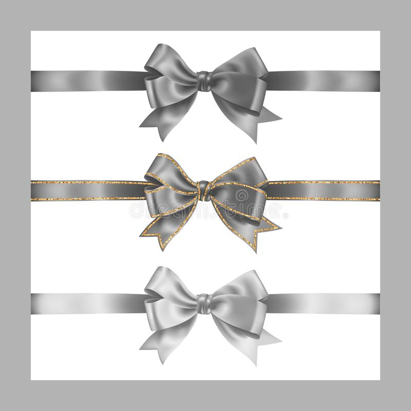 Set of three realistic gray silk ribbon bow with gold glitter shiny stripes, vector illustration elements isolated on white, for. Decoration, promotion vector illustration