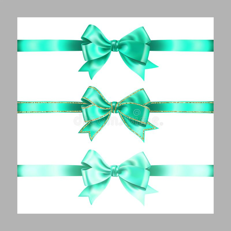 Set of three realistic light blue silk ribbon bow with gold glitter shiny stripes, vector illustration elements isolated on white. For decoration, promotion vector illustration