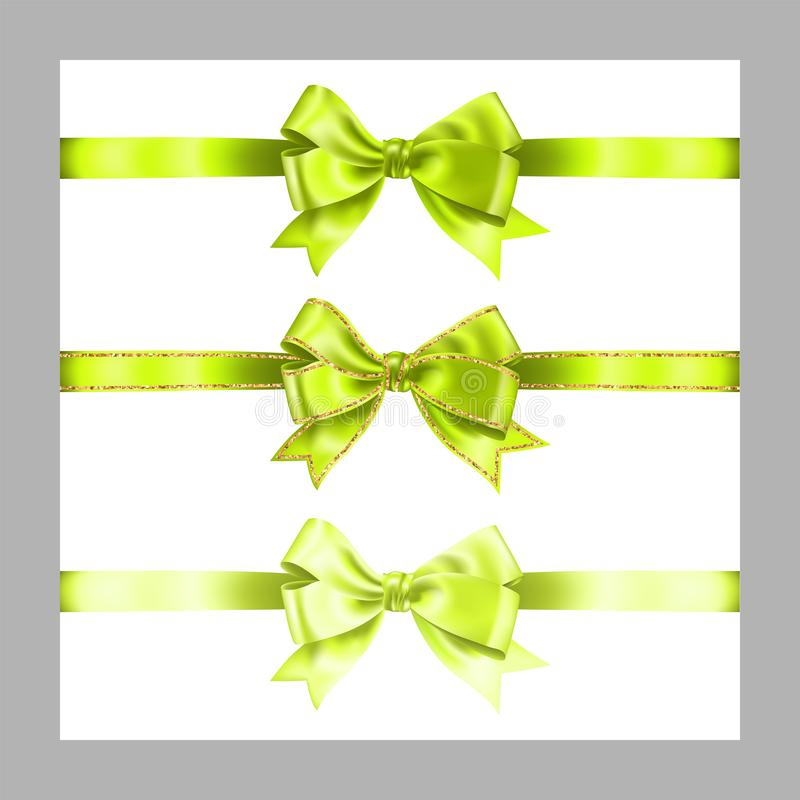 Set of three realistic light green silk ribbon bow with gold glitter shiny stripes, vector illustration elements isolated on white. For decoration, promotion royalty free illustration