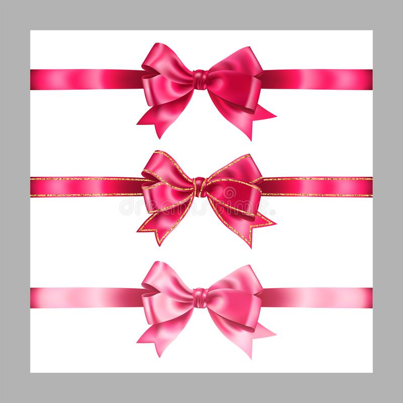 Set of three realistic pink silk ribbon bow with gold glitter shiny stripes, vector illustration elements isolated on white, for. Decoration, promotion vector illustration