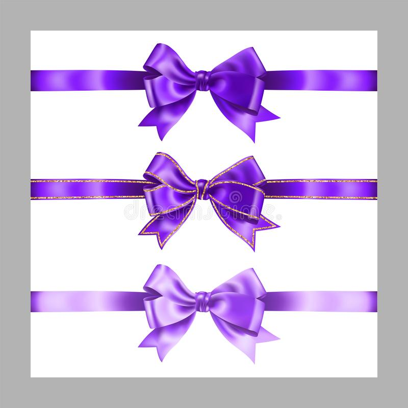 Set of three realistic purple silk ribbon bow with gold glitter shiny stripes, vector illustration elements isolated on white, for. Decoration, promotion vector illustration