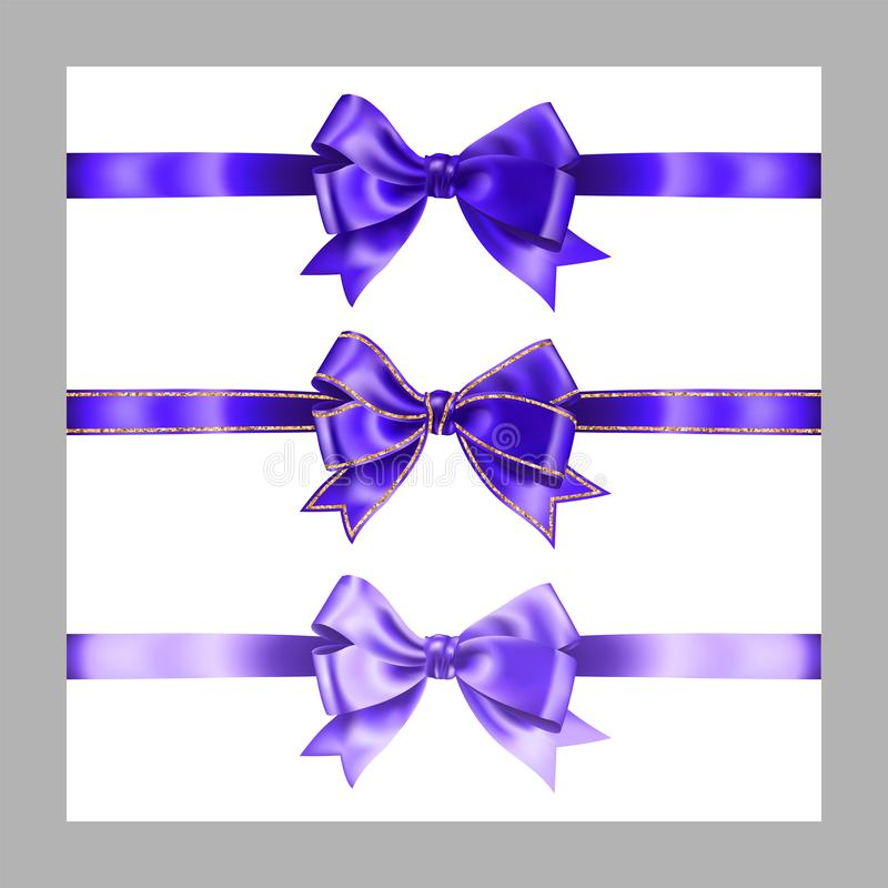 Set of three realistic purple silk ribbon bow with gold glitter shiny stripes, vector illustration elements isolated on white, for. Decoration, promotion royalty free illustration
