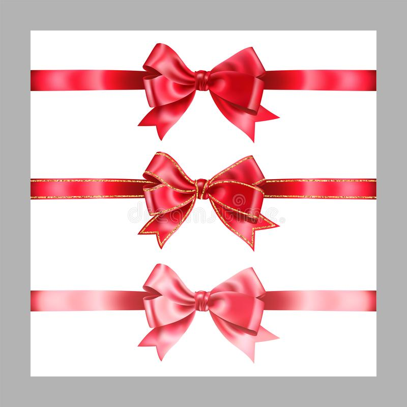 Set of three realistic red silk ribbon bow with gold glitter shiny stripes, vector illustration elements isolated on white, for. Decoration, promotion royalty free illustration