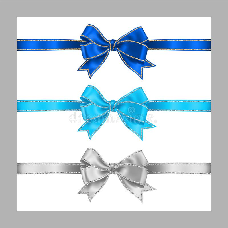 Set of three realistic white blue and azure silk ribbon bow with gold and silver glitter shiny stripes, vector illustration for. Decoration, promotion royalty free illustration