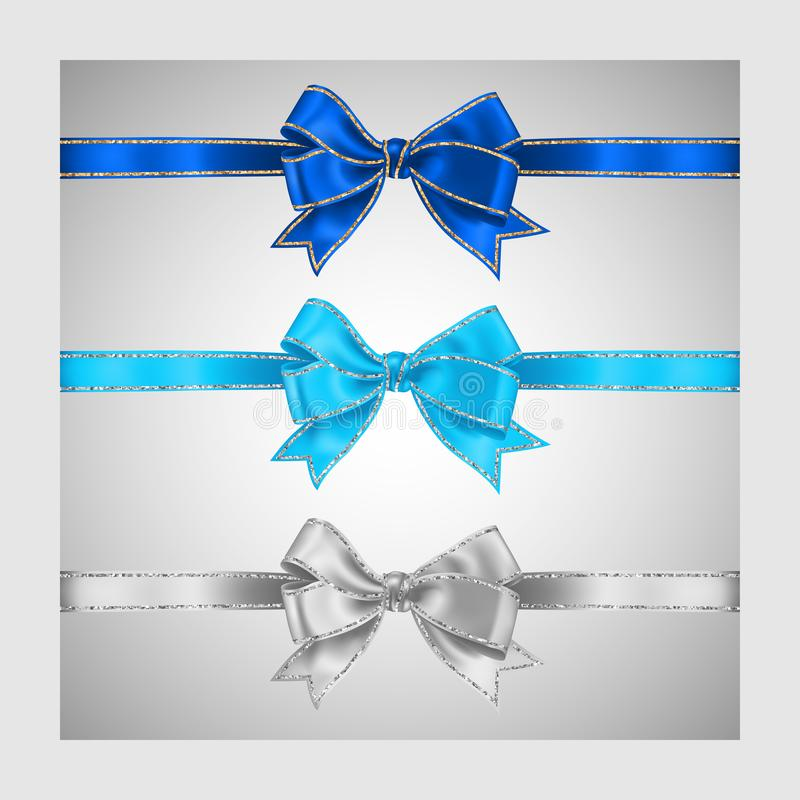 Set of three realistic white blue and azure silk ribbon bow with gold and silver glitter shiny stripes, vector illustration for. Decoration, promotion vector illustration