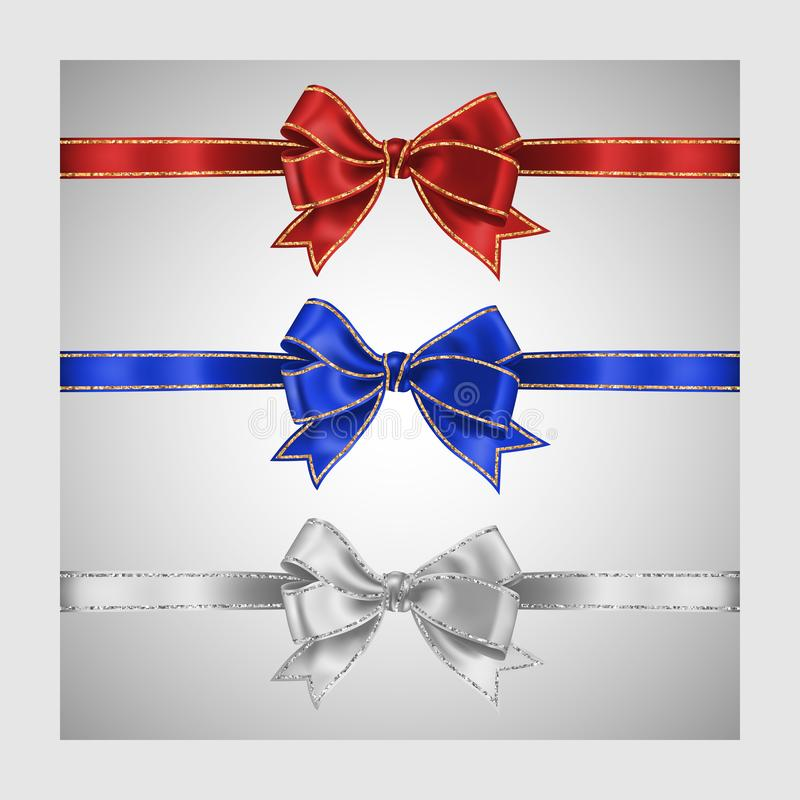 Set of three realistic white, blue and red silk ribbon bow with gold and silver glitter shiny stripes, vector illustration for. Decoration, promotion stock illustration