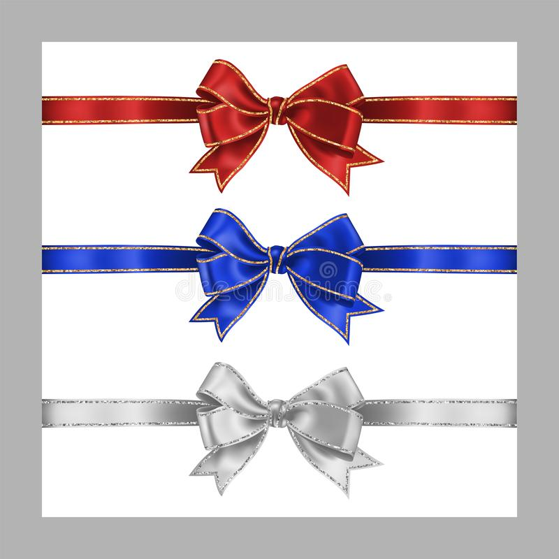 Set of three realistic white, blue and red silk ribbon bow with gold and silver glitter shiny stripes, vector illustration for. Decoration, promotion royalty free illustration