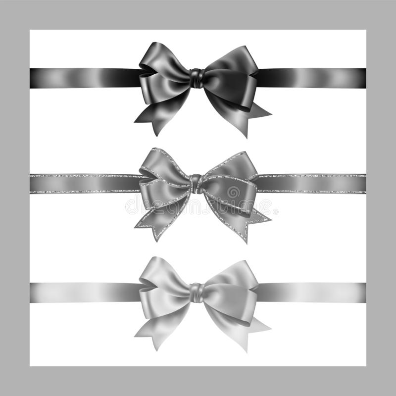 Set of three realistic white,gray and black silk ribbon bow with silver glitter shiny stripes, vector illustration for decoration. Promotion, advetrisment royalty free illustration