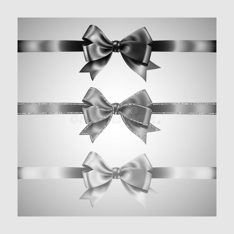 Set of three realistic white,gray and black silk ribbon bow with silver glitter shiny stripes, vector illustration for decoration. Promotion, advetrisment stock illustration