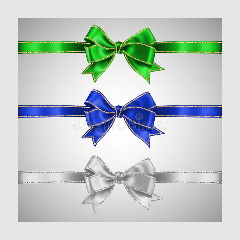 Set of three realistic white, green and blue silk ribbon bow with gold and silver glitter shiny stripes, vector illustration for. Decoration, promotion vector illustration
