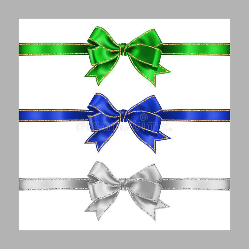 Set of three realistic white, green and blue silk ribbon bow with gold and silver glitter shiny stripes, vector illustration. Isolated on white for decoration vector illustration