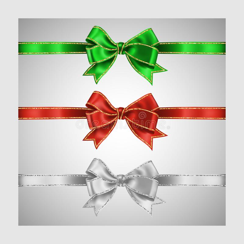 Set of three realistic white, green and red silk ribbon bow with gold and silver glitter shiny stripes, vector illustration for. Decoration, promotion royalty free illustration
