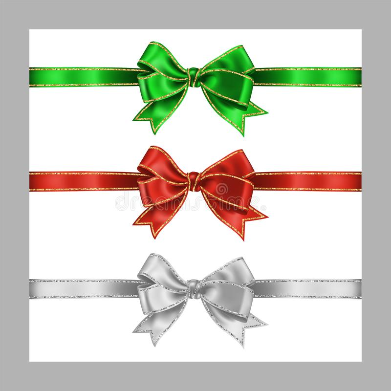 Set of three realistic white, green and red silk ribbon bow with gold and silver glitter shiny stripes, vector illustration. Isolated on white for decoration vector illustration