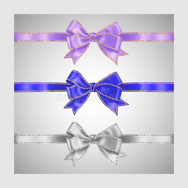 Set of three realistic white, lavender lilac color and blue silk ribbon bow with gold and silver glitter shiny stripes, vector. Illustration for decoration vector illustration
