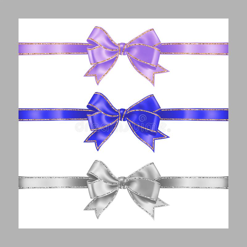 Set of three realistic white, lavender lilac color and blue silk ribbon bow with gold and silver glitter shiny stripes, vector. Illustration for decoration stock illustration