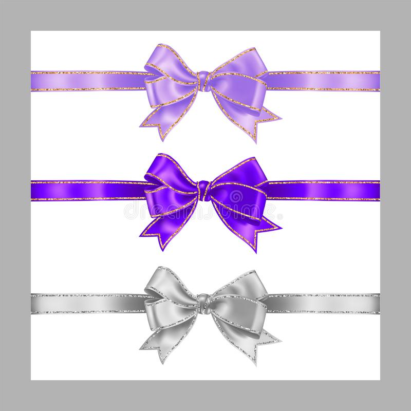 Set of three realistic white, lavender lilac color and purple silk ribbon bow with gold and silver glitter shiny stripes, vector. Illustration for decoration royalty free illustration