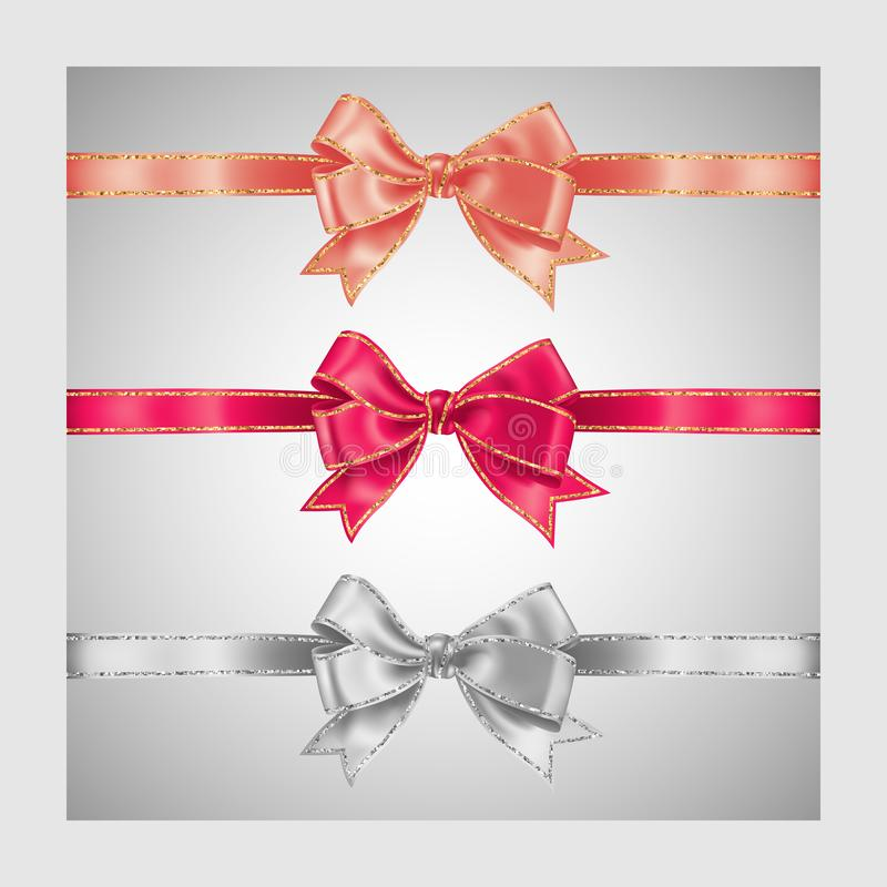 Set of three realistic white, peachy and pink silk ribbon bow with gold and silver glitter shiny stripes, vector illustration for. Decoration, promotion vector illustration