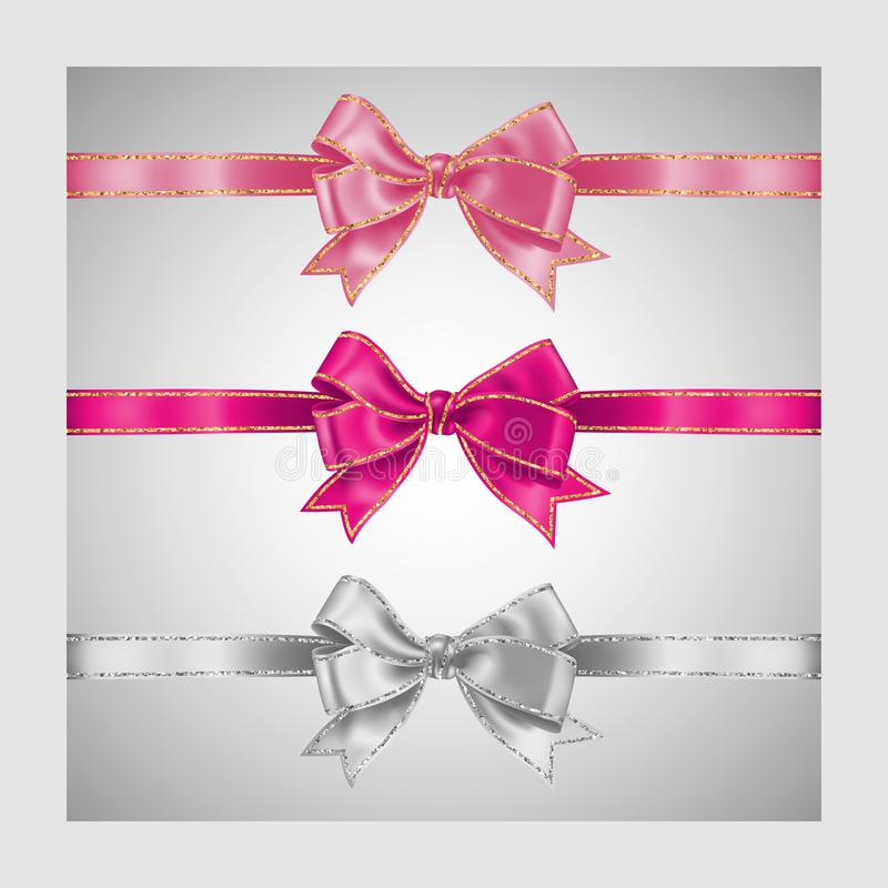 Set of three realistic white and pink silk ribbon bow with gold and silver glitter shiny stripes, vector illustration for. Decoration, promotion, advetrisment vector illustration