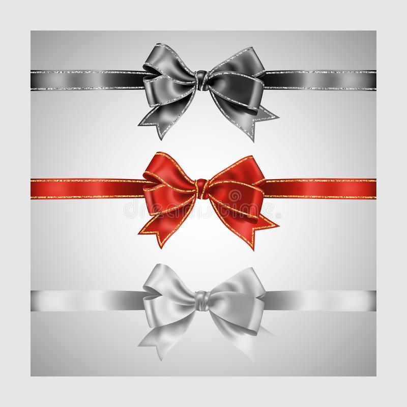 Set of three realistic white, red and black silk ribbon bow with gold and silver glitter shiny stripes, vector illustration for. Decoration, promotion stock illustration