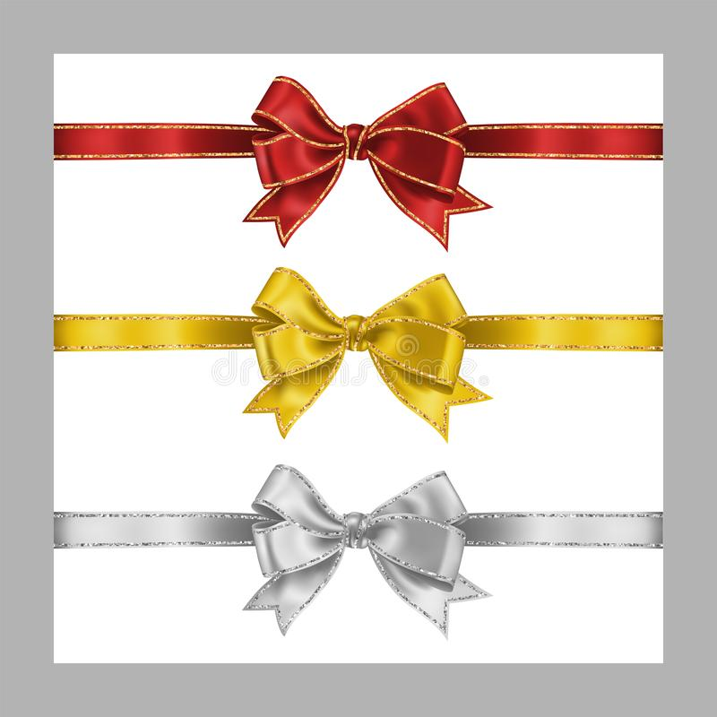 Set of three realistic white, yellow and red silk ribbon bow with gold and silver glitter shiny stripes, vector illustration for. Set of three realistic white vector illustration
