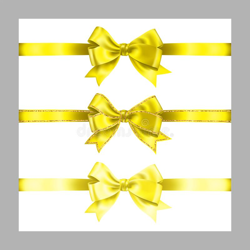 Set of three realistic yellow silk ribbon bow with gold glitter shiny stripes, vector illustration elements isolated on white, for. Decoration, promotion stock illustration