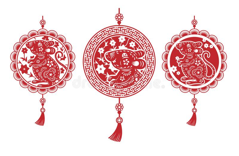 Set of three red Chinese amulets on a white background. Highly realistic illustration stock photos