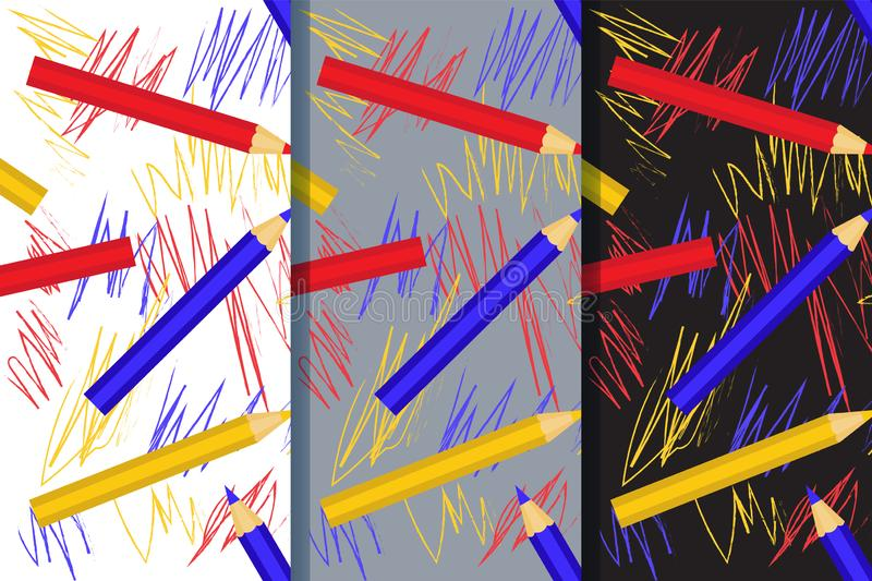 Set of three seamless patterns with with colorful pencils and children`s drawing. Vector EPS10 stock images