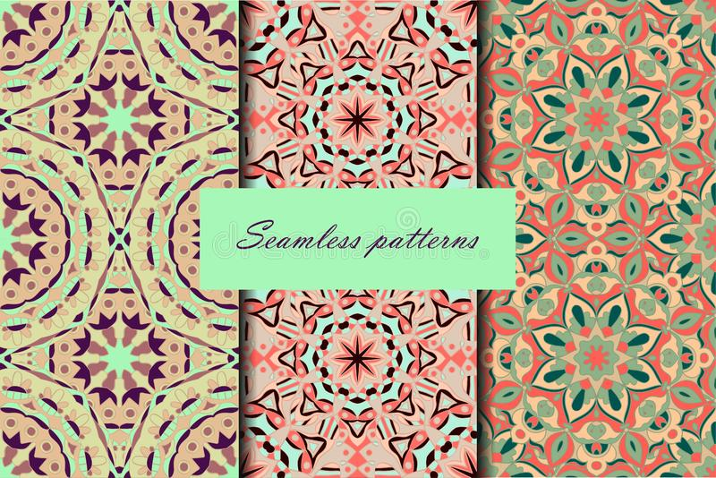 Set with three seamless patterns. Decorative vintage patterns with mandalas. Vector backgrounds stock illustration