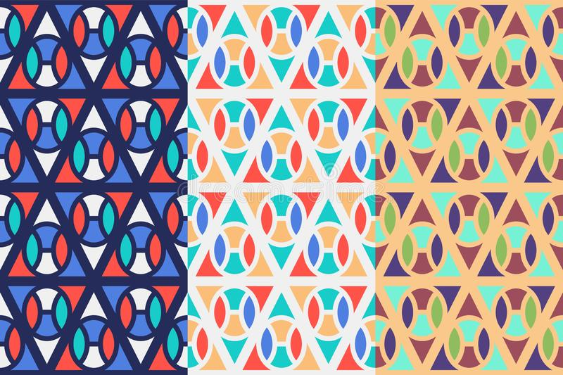 Set of three seamless patterns with geometric shapes, colorful illustration stock illustration