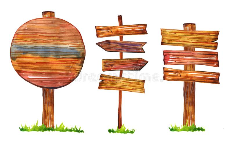 Set of three signposts and arrows with grass. Hand drawn watercolor illustration. Isolated on white background stock illustration