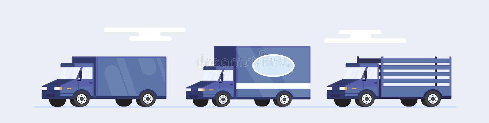 Set of three van or car delivery service in flat style. Vector stock illustration