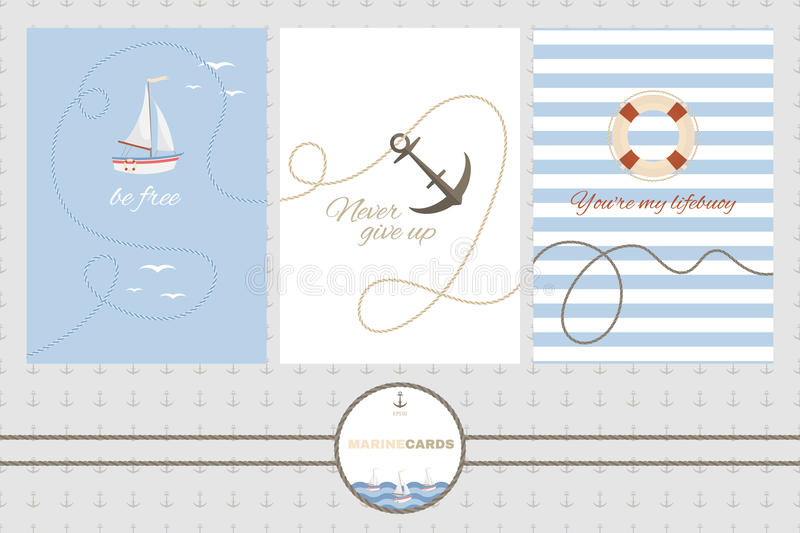 Set of three vector cards templates in marine style. Sailboat, anchors and lifebuoy. vector illustration