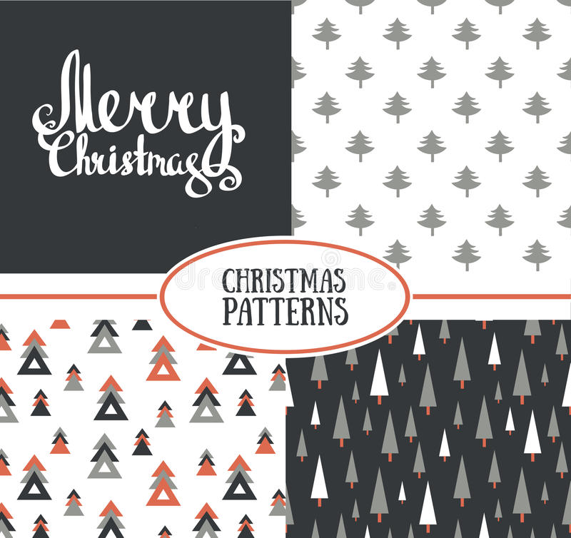 Set of three vector seamless patterns with stylish Christmas trees and Merry Christmas. stock illustration
