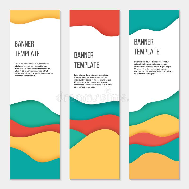 Set of three vertical colorful banner templates. Paper cut style. Business templates. Can be used as flyer stock illustration