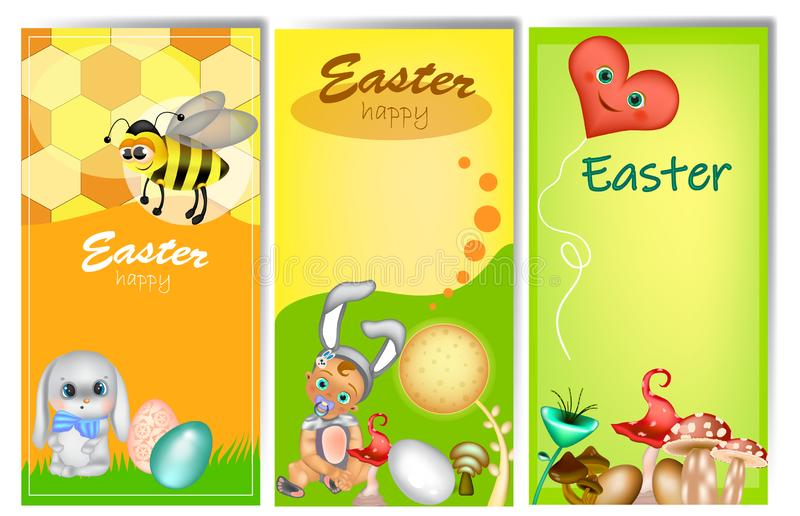 Set of three vertical Easter banners royalty free illustration