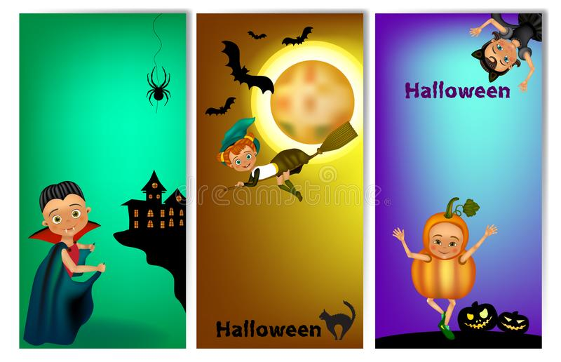 Set of three vertical Halloween banners with cute kids in costume . Halloween banner template with place for your text. stock illustration