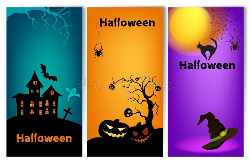 Set of three vertical Halloween banners. stock illustration