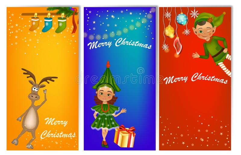 Set of three vertical New Year banners with cute kids in costume vector illustration