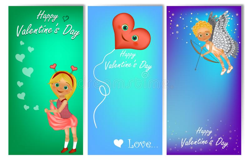 Set of three vertical Valentine`s Day banners with cute kids in costume stock illustration